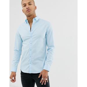 シックシルク メンズ シャツ トップス SikSilk shirt in light blue Blue|astyshop