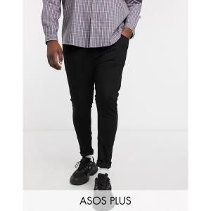 エイソス メンズ デニム ボトムス ASOS DESIGN Plus spray on jeans in power stretch denim in black Black|astyshop