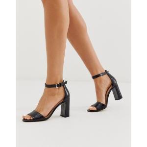 アルド レディース サンダル シューズ ALDO Uniolia block heel sandal in black croc Black croc print syn astyshop