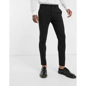 エイソス メンズ カジュアル ボトムス ASOS DESIGN extreme super skinny smart pants in black Black astyshop