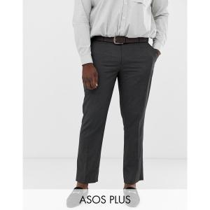 エイソス メンズ カジュアル ボトムス ASOS DESIGN Plus slim smart pants in charcoal Charcoal astyshop