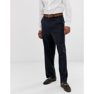 エイソス メンズ カジュアル ボトムス ASOS DESIGN wide leg smart pants in navy 100% wool Navy astyshop