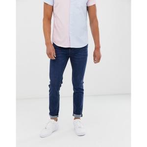 エイソス メンズ デニム ボトムス ASOS DESIGN skinny jeans in flat dark blue Dark wash blue|astyshop