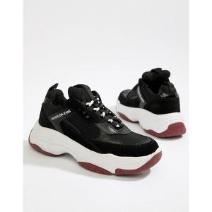 カルバンクライン レディース スニーカー シューズ Calvin Klein Black Maya Mesh And Suede Fashion Sneakers Black astyshop