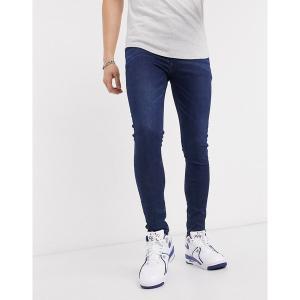 エイソス メンズ デニム ボトムス ASOS DESIGN spray on jeans in power stretch denim in dark wash blue Dark wash blue|astyshop