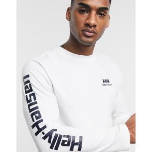 ヘリーハンセン メンズ Tシャツ トップス Helly Hansen long sleeve t-shirt in white with arm print White astyshop