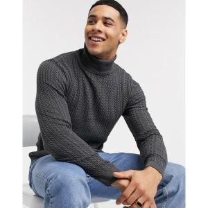 エイソス メンズ ニット、セーター アウター ASOS DESIGN muscle fit cable roll neck sweater in charcoal Charcoal astyshop
