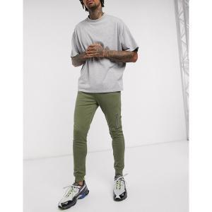 エイソス メンズ カジュアル ボトムス ASOS DESIGN skinny sweatpants with MA1 pocket in khaki Kalamata astyshop