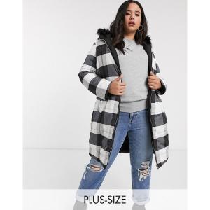 シンプリービー レディース ジャケット・ブルゾン アウター Simply Be reversible padded jacket in black and white check Black astyshop