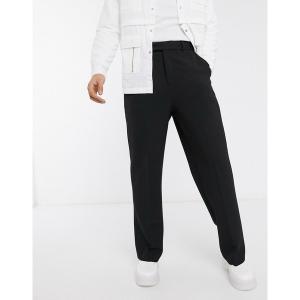 エイソス メンズ カジュアル ボトムス ASOS DESIGN wide leg smart pants in black Black astyshop