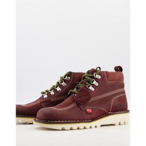 キッカーズ メンズ ブーツ&レインブーツ シューズ Kickers Kick Hi winterized lace up boots in burgundy leather Red|astyshop