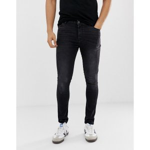 エイソス メンズ デニム ボトムス ASOS DESIGN spray on jeans in power stretch in washed black Washed black|astyshop