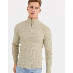 エイソス メンズ ニット、セーター アウター ASOS DESIGN muscle fit ribbed half zip sweater in oatmeal Oatmeal astyshop