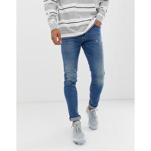 ディーゼル メンズ デニム ボトムス Diesel Tepphar slim carrot fit jeans in 089AW medium wash Blue|astyshop