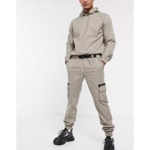 エイソス メンズ カジュアル ボトムス ASOS DESIGN two-piece slim utility pants in check with cargo pockets Brown astyshop