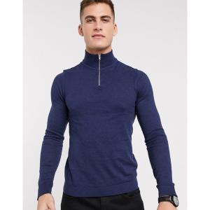 エイソス メンズ ニット、セーター アウター ASOS DESIGN turtleneck sweater with zip in navy Navy astyshop