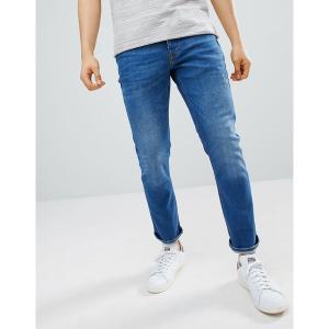 リバーアイランド メンズ デニム ボトムス River Island slim jeans in mid wash blue Mid blue|astyshop