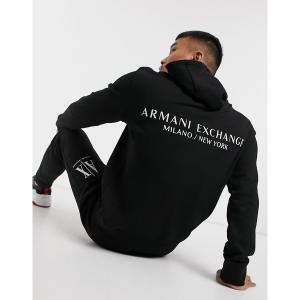 アルマーニエクスチェンジ メンズ パーカー・スウェットシャツ アウター Armani Exchange logo french terry hoodie with back print in black Black astyshop
