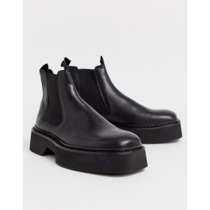 エイソス メンズ ブーツ&レインブーツ シューズ ASOS DESIGN chelsea square toe boots in black high shine leather Black|astyshop