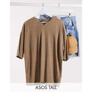 エイソス メンズ Tシャツ トップス ASOS DESIGN Tall oversized t-shirt with notch neck and half sleeve in beige linen mix Fossil astyshop