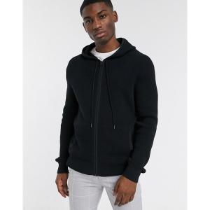 カルバンクライン メンズ パーカー・スウェットシャツ アウター Calvin Klein textured zip hooded sweat in black Black|astyshop