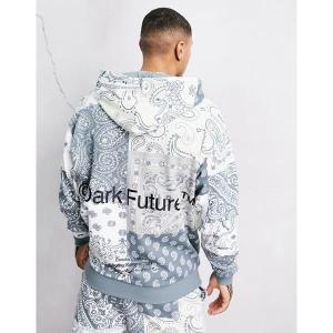 エイソス メンズ パーカー・スウェットシャツ アウター ASOS Dark Future oversized hoodie with all over paisley print in blue Blues astyshop