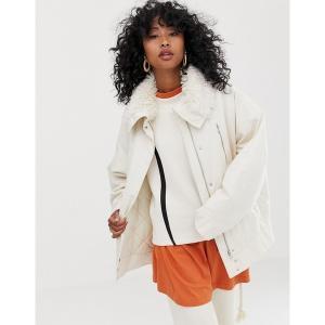 ウィークデイ レディース ジャケット・ブルゾン アウター Weekday short parka jacket with faux fur collar in off white Off white|astyshop