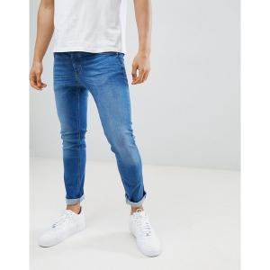リバーアイランド メンズ デニム ボトムス River Island skinny jeans in mid wash blue Mid blue|astyshop