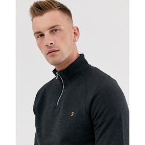 ファーラー メンズ ニット、セーター アウター Farah Jim half zip sweater in black Black astyshop