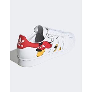 アディダスオリジナルス メンズ スニーカー シューズ adidas Originals superstar sneakers with mickey mouse print in white White astyshop