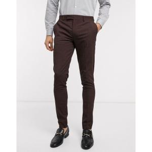 エイソス メンズ カジュアル ボトムス ASOS DESIGN wedding skinny suit pants in mini check in burgundy and gray Burgundy astyshop