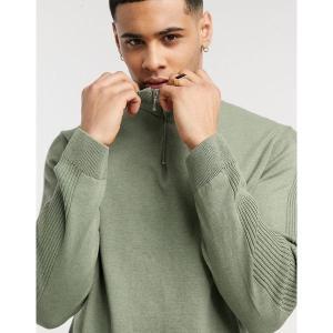 リバーアイランド メンズ ニット、セーター アウター River Island half zip funnel neck sweater in sage green Green astyshop