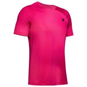 アンダーアーマー Tシャツ メンズ トップス Rush Fitted TShirt Pink Surge/Black astyshop