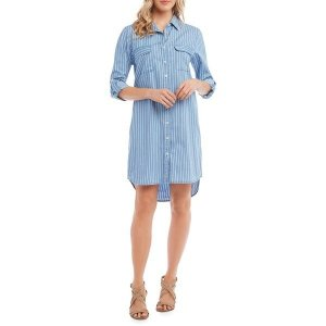 【当日出荷】 カレンケーン レディース Striped Chambray Shirtdress Blue White  【サイズ XL】 astyshop