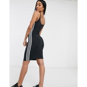 【当日出荷】 アディダスオリジナルス レディース adidas Orignal three stripe strap dress in black Gray 【サイズ L】 astyshop