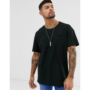 【当日出荷】 エスプリ メンズ Esprit oversize t-shirt in black Black 【サイズ S】|astyshop