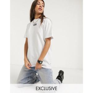 【当日出荷】 バンズ レディース Vans Oversized chest logo t-shirt in white Exclusive at ASOS Marshmallow 【サイズ XL】 astyshop