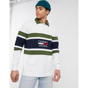 【当日出荷】 トミーヒルフィガー メンズ Tommy Jeans panel logo rugby top in white Classic white/cypres 【サイズ XL】|astyshop