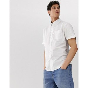 【当日出荷】 ベンシャーマン メンズ Ben Sherman short sleeved oxford shirt White  【サイズ M】|astyshop