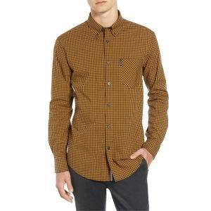 【当日出荷】 ベンシャーマン メンズ Ben Sherman Classic Fit Gingham Sport Shirt Mustard  【サイズ L】|astyshop