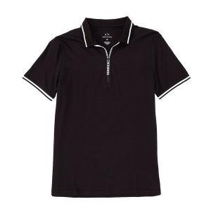 【当日出荷】 アルマーニエクスチェンジ メンズ Quarter-Zip Short-Sleeve Polo Shirt Black  【サイズ M】 astyshop