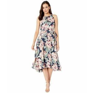 【当日出荷】 タハリ レディース Sleeveless Printed Floral Keyhole Neck Dress w/ High-Low Hem Line Navy Cali Floral 【サイズ 6】 astyshop