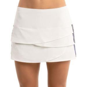 【当日出荷】 ラッキーインラブ レディース フィットネス Lucky in Love Women's Prowl Stripe Scallop Tennis Skirt White 【サイズ XS】 astyshop