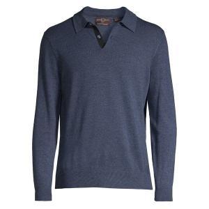 【当日出荷】 ブラック・ブラウン1826 メンズ Merino Wool Long-Sleeve Polo Shirt Soft Denim Heather 【サイズ XL】|astyshop