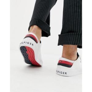 【当日出荷】 トミー ヒルフィガー メンズ Tommy Hilfiger long lace canvas icon stripe back trainer in white Bright white    【サイズ UK6.5】|astyshop
