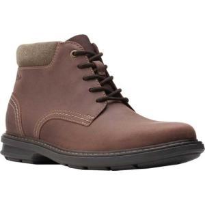 【当日出荷】 クラークス メンズ Rendell Work Ankle Boot Dark Brown Leather 【サイズ US7.5M】|astyshop
