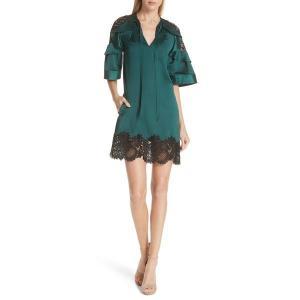 【当日出荷】 セルフ・ポートレイト レディース Self-Portrait Lace Trim Satin Shift Dress Dark Green 【サイズ US6】 astyshop