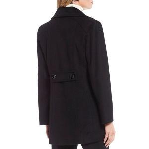 【当日出荷】 アンクライン レディース Double Breasted Wool Blend Pea Coat Black 【サイズ M】 astyshop