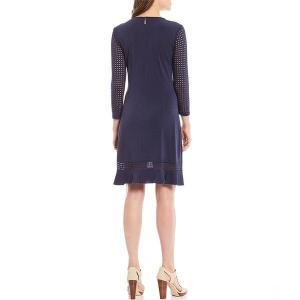 【当日出荷】 マイケルコース レディース Crepe Knit Jersey Mesh Trim A-Line Dress [並行輸入品] 【サイズ XL】 astyshop