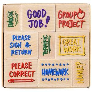 英語スタンプ9個セット(木製)/Hero Arts Woodblock Stamp Set, Notes From the Teacher/教師/小学 中学 高校|asukabc-online